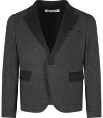 dondup grey jacket for boy with iconic d