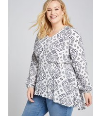lane bryant women's smocked-waist high-low tunic top 26 white and blue print