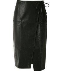 armani exchange wraparound a-line skirt - black