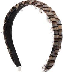 gigi burris millinery philipa ash feather headband - grey