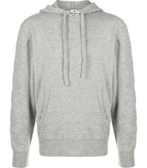 grey cashmere diagonal hoodie jumper
