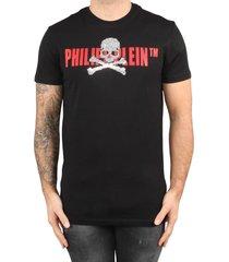 philipp plein t-shirt round neck ss skull strass black-red zwart