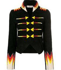 jessie western cropped beaded military jacket - black