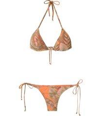 amir slama printed triangle bikini set - neutrals