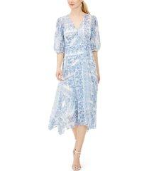 calvin klein bandana-print balloon-sleeve dress