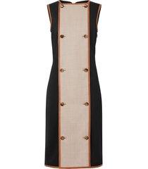 burberry button panel detail stretch wool shift dress - black