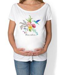 koszulka damska, ciążowa. kwiaty i ptaki