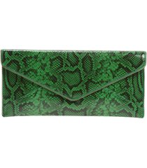 rebecca minkoff leo snake embossed leather east west clutch - green
