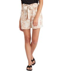 sanctuary sancturay high tide tie dye paperbag shorts, size large in mojave tie dye at nordstrom