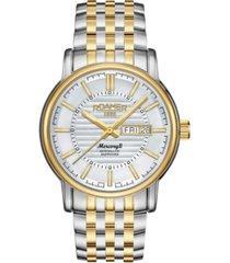 roamer men's 3 hands day date 42 mm dress watch in steel case and bracelet