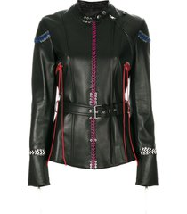 alexander mcqueen whip-stitched leather jacket - black