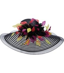 scala big brim multi colored feather hat