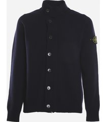 stone island wool blend cardigan with logo patch