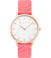 women's rebecca minkoff major embossed leather watch, 35mm