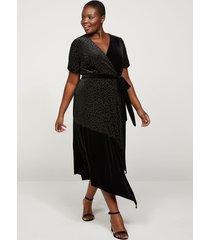 lane bryant women's animal print velvet faux-wrap midi dress 14/16 black