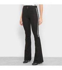calça morena rosa boot cut cós alto cintura alta feminina