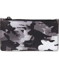 dolce & gabbana card holder in camouflage leather