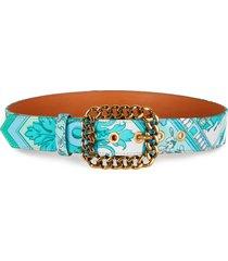 women's etro scarf print cotton belt, size 90 - turquoise/ verde