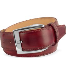 pakerson designer men's belts, men's wine red hand painted italian leather belt
