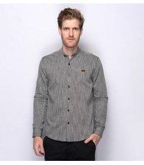 camisa social teodoro linho gola padre algodão masculina