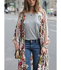 kimono de dobladillo asimétrico tropical multicolor
