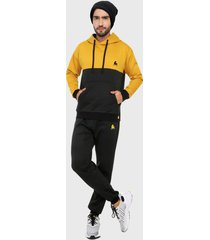 sudadera para hombre conjunto hoodie mostaza negro corte inglés