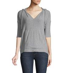 elbow-sleeve pullover hoodie