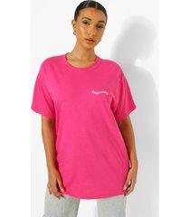 oversized katoenen t-shirt met kleine tekst, bright pink