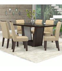 mesa de jantar 6 lugares condessa nogueira/gold/preto - viero móveis
