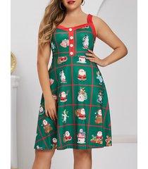 plus size christmas funny santa claus and snowman retro dress