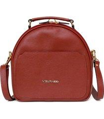 bolsa mochila de couro via focco 8117 vermelha