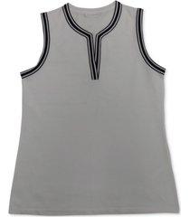 charter club petite split neckline top, created for macy's