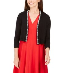 calvin klein imitation pearl-trim shrug