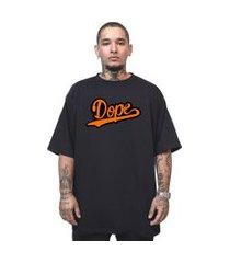camiseta manga curta skull clothing dope laranja preto