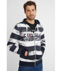 sweatshirt jacket plush hood - blue - xxl