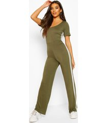 double side stripe short sleeve lounge jumpsuit, khaki
