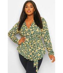 plus bloemenprint wikkel blouse, green