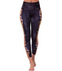 onzie women's graphic high waisted 7/8 yoga leggings - bronze tie dye ml spandex