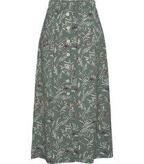 onlnova lux long button skirt aop wvn knälång kjol grön only