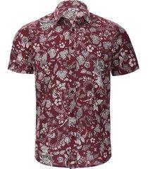 camisa estampada flores y hojas color vino, talla xs