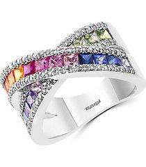 14k white gold, multicolor sapphire & diamond ring