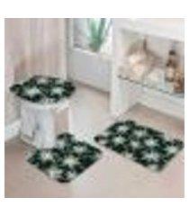 jogo tapetes para banheiro basic flowers único