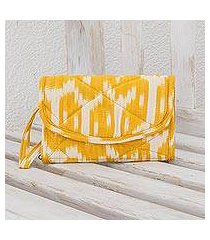 cotton wristlet bag, 'maya sunlight' (guatemala)