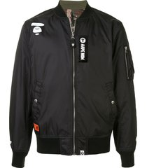 aape by *a bathing ape® patchwork bomber jacket - black