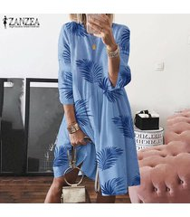 zanzea verano de las mujeres suelta holgada hoja impresa vestido de tirantes de la llamarada oscilación camisa de vestir de tamaño extra grande -azul