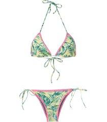 brigitte tati julia crochet trimming bikini set - multicolour