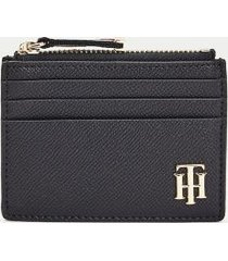 tommy hilfiger women's pebbled zip card holder sky captain -