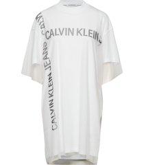 grid logo mesh tee dress jurk knielengte wit calvin klein jeans