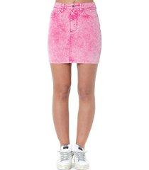 msgm pink cotton washed short skirt