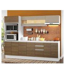 cozinha completa 100% mdf madesa smart 250 cm modulada com balcão e tampo branco/rustic/crema rustic